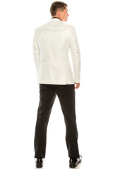 Contrast Placket Lace Tuxedo - White - Ron Tomson