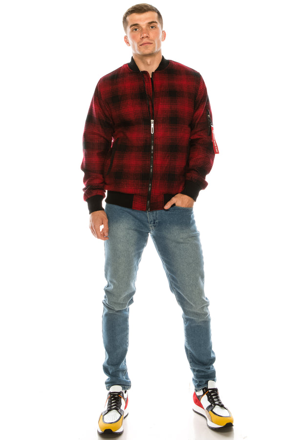 Lumberjack Varsity Jacket - Black Red - Ron Tomson