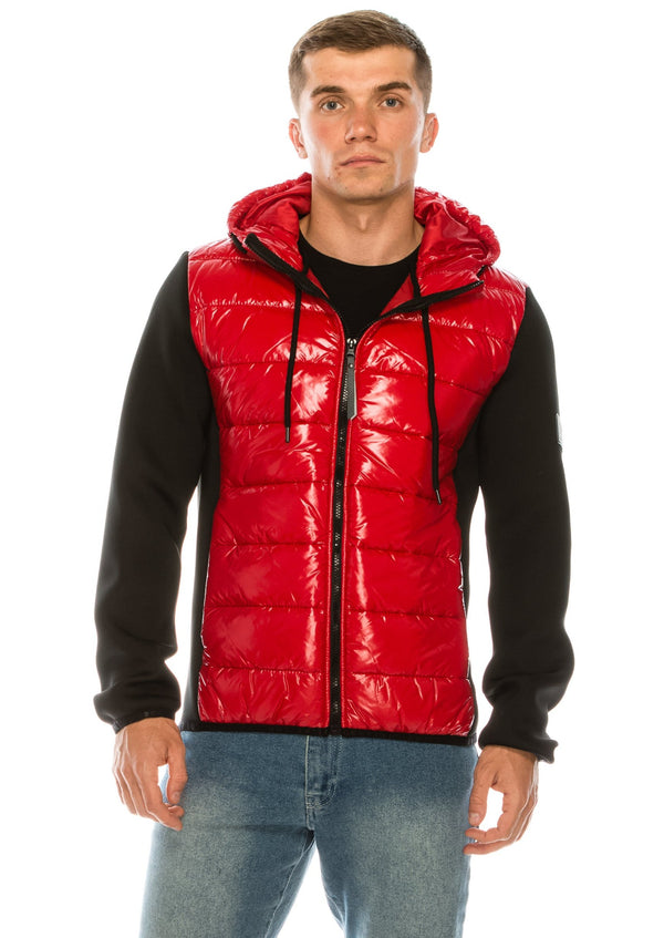 Lac Nylon Neoprene sleeve Hooded Jacket - Red - Ron Tomson