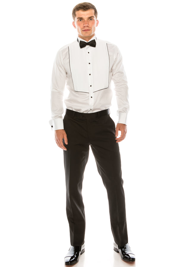 Pleated Wing Tip Collar Shirt - White Black - Ron Tomson