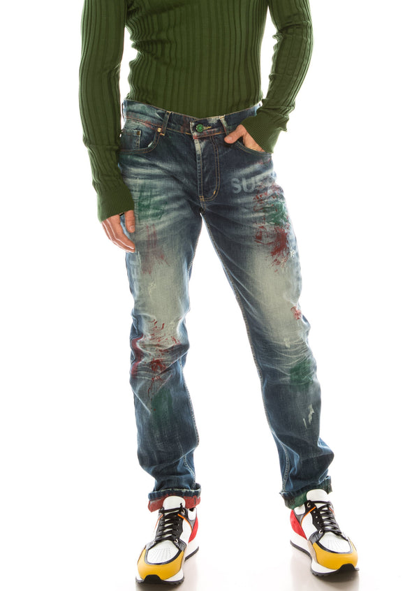 PAINTED SLIM-STRAIGHT DENIM - Ron Tomson