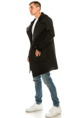 Asymmetrical Placket Neoprene Cardigan - Black - Ron Tomson