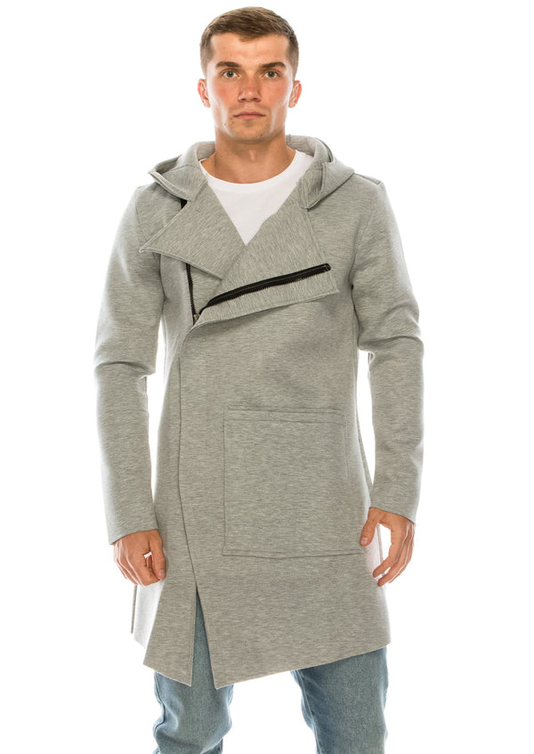 Asymmetrical Placket Neoprene Cardigan - GREY - Ron Tomson