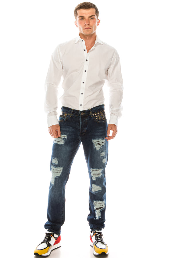 EMBELLISHED SLIM STRAIGHT NAVY JEANS - Ron Tomson