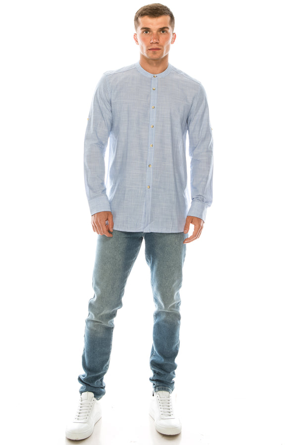 Striped Cotton Shirt - BLUE - Ron Tomson