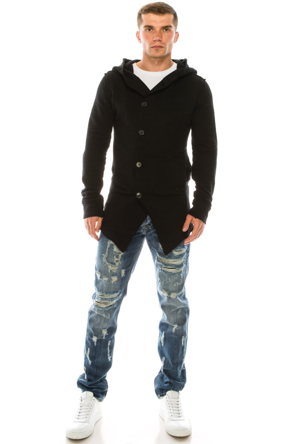 Hooded Asymmetric Closure Raw Cardigan - Black - Ron Tomson
