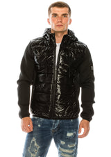Lac Nylon Neoprene sleeve Hooded Jacket - Black - Ron Tomson