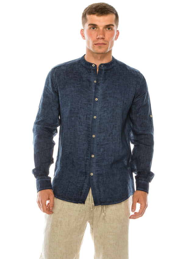Band Collar Button Down Linen Shirt - Navy - Ron Tomson