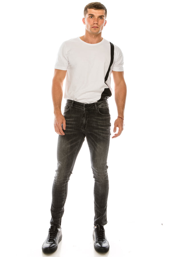 Side Band Skinny Denim - Black White - Ron Tomson