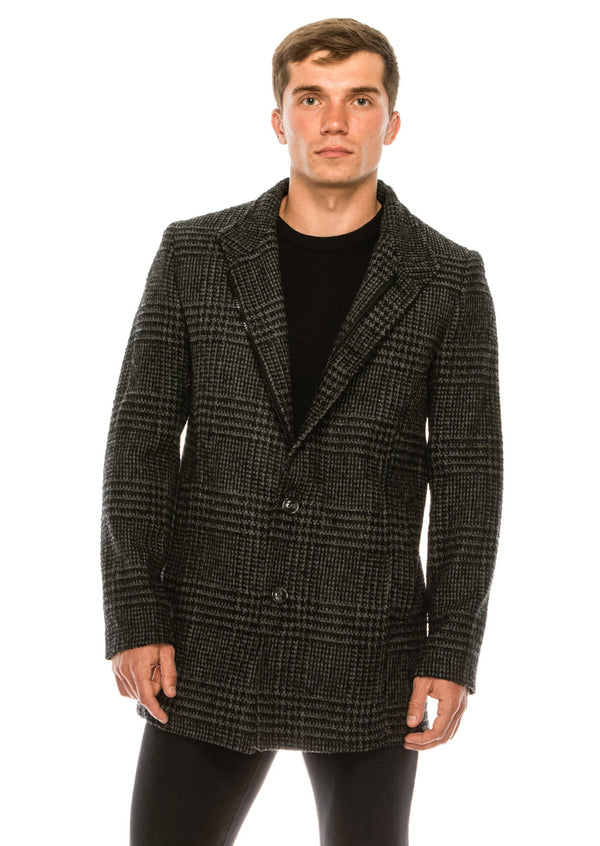 Checked Wool Coat - Black - Ron Tomson