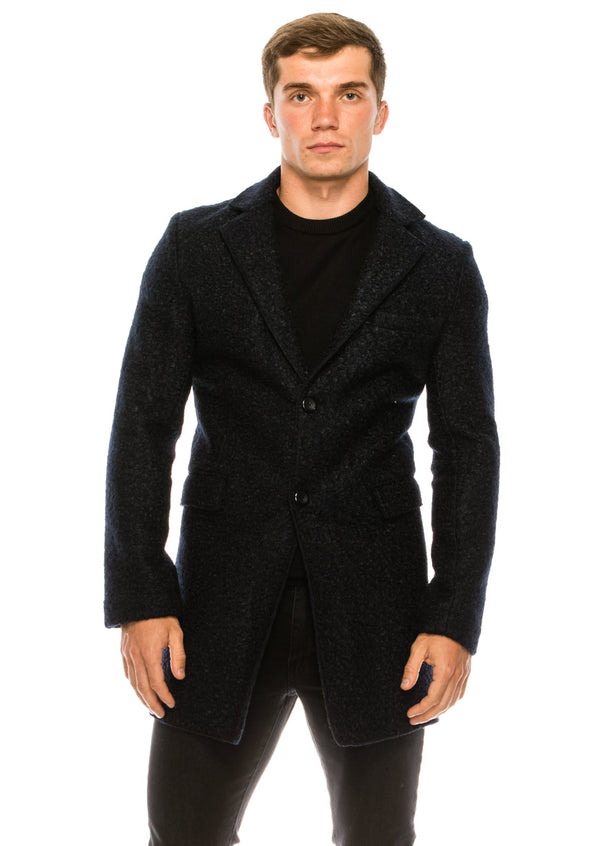 Boucle Coat - Navy - Ron Tomson