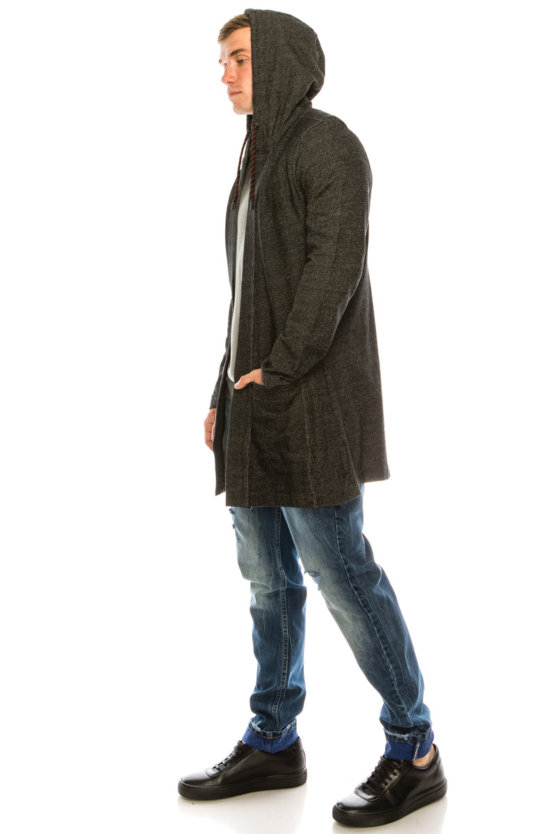 Hooded Textured Blend Cardigan  - Black - Ron Tomson