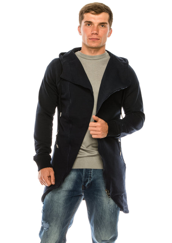 Hooded Asymmetric Cardigan - Navy - Ron Tomson