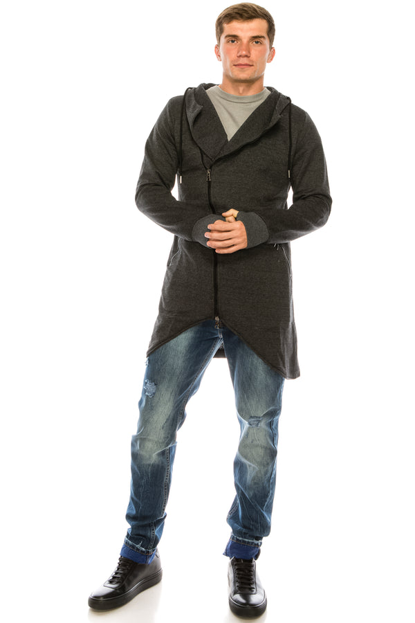 Hooded Asymmetric Cardigan - Anthracite - Ron Tomson