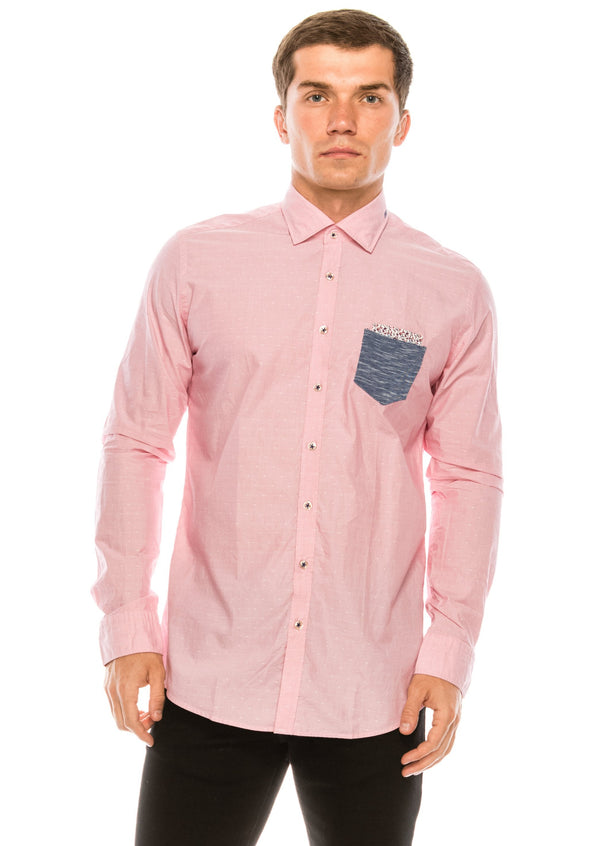 Slim Fit Contrast Pocket Shirt - Pink - Ron Tomson
