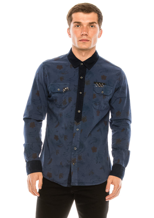 Pierced Fitted Button Down Shirt - NAVY 1 - Ron Tomson