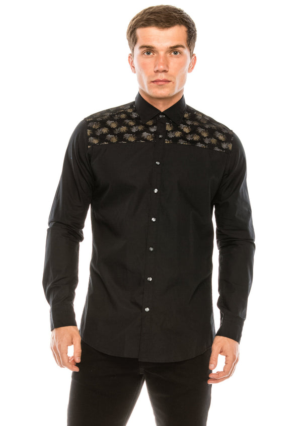Slim Fit Printed Mesh Shirt- Black Grey - Ron Tomson