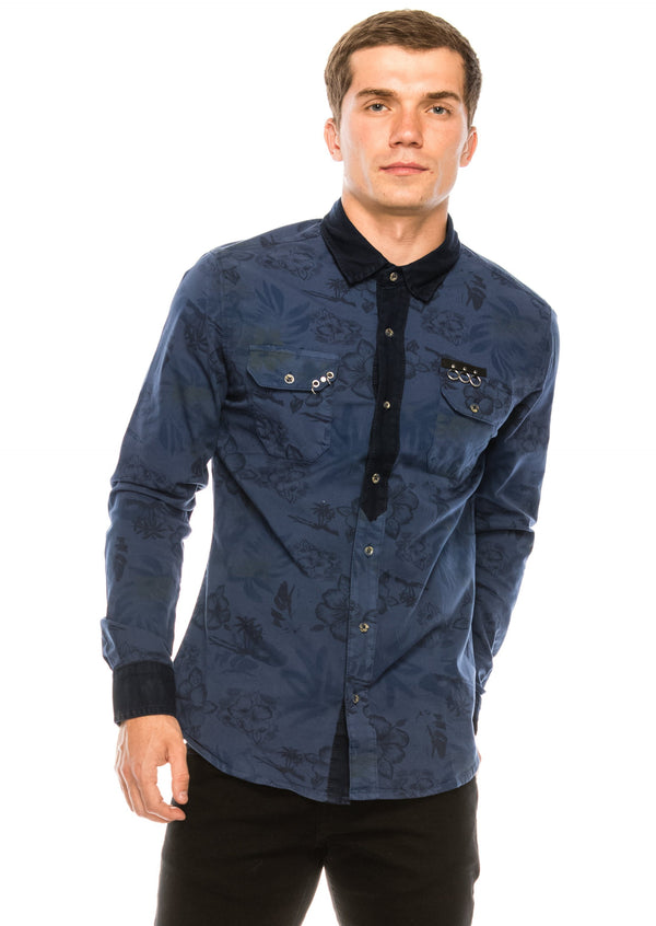 Pierced Fitted Button Down Shirt - NAVY - Ron Tomson