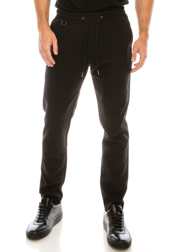 Slim Fit Drawcord Track Pant - Black - Ron Tomson