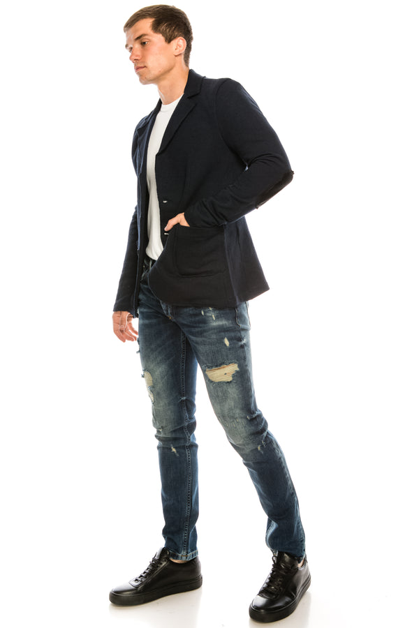RAW EDGE FITTED CARDIGAN - NAVY - Ron Tomson