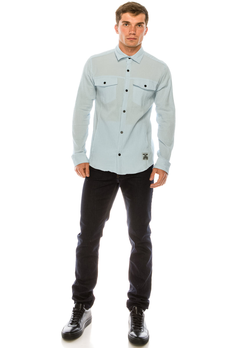 Waffle cotton Safari Shirt - Blue - Ron Tomson