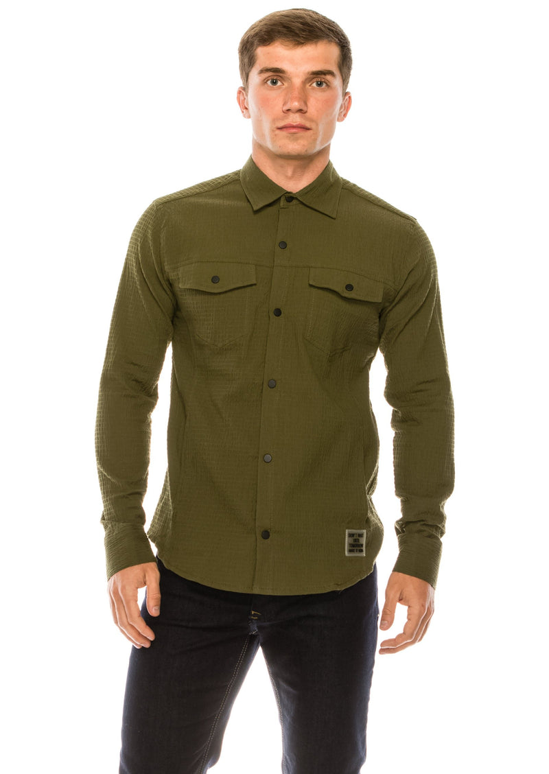 Waffle Cotton Safari Shirt- Khaki - Ron Tomson