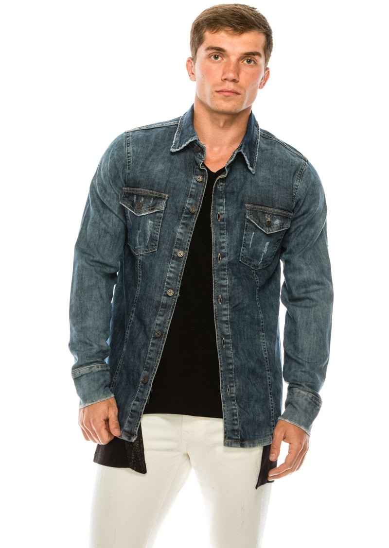 WASHED INDIGO DENIM OVERSHIRT - Ron Tomson