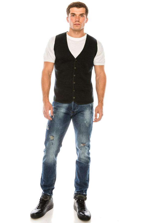 Casual Houndstooth Vest - Green - Ron Tomson