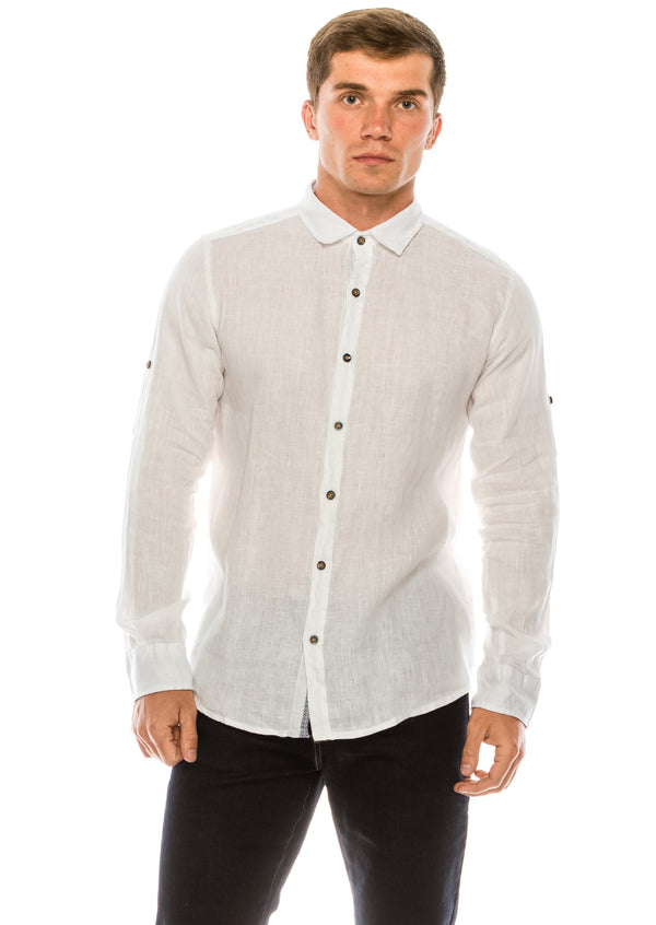Italian Collar Fitted Button Down Linen Shirt - White - Ron Tomson