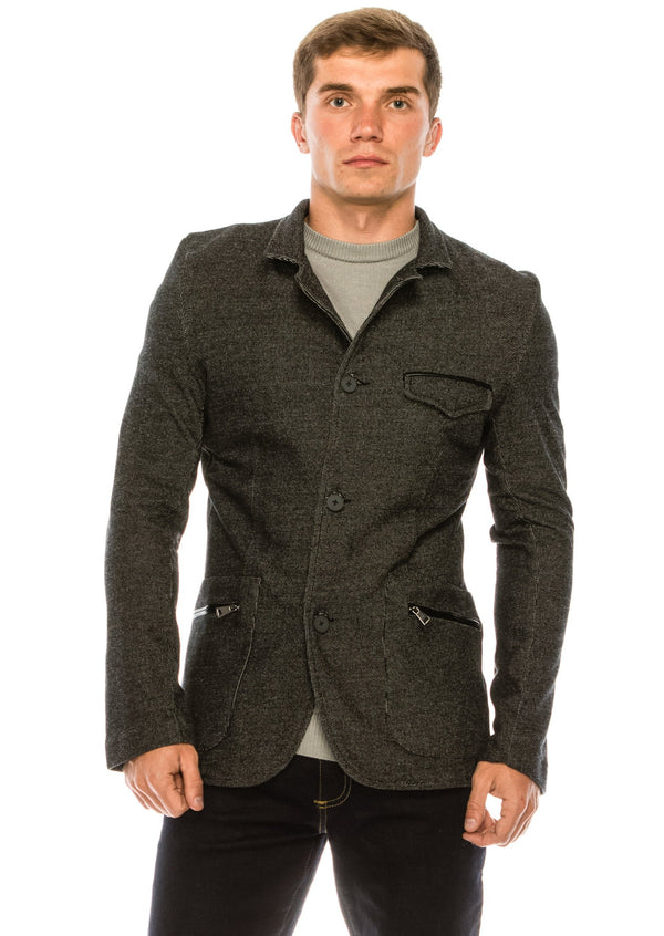 Statesman Knit Jacket  - Black - Ron Tomson
