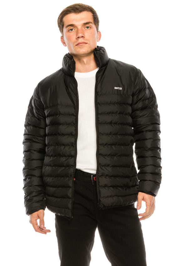 Reflector Logo Quilted Jacket - BLACK - Ron Tomson