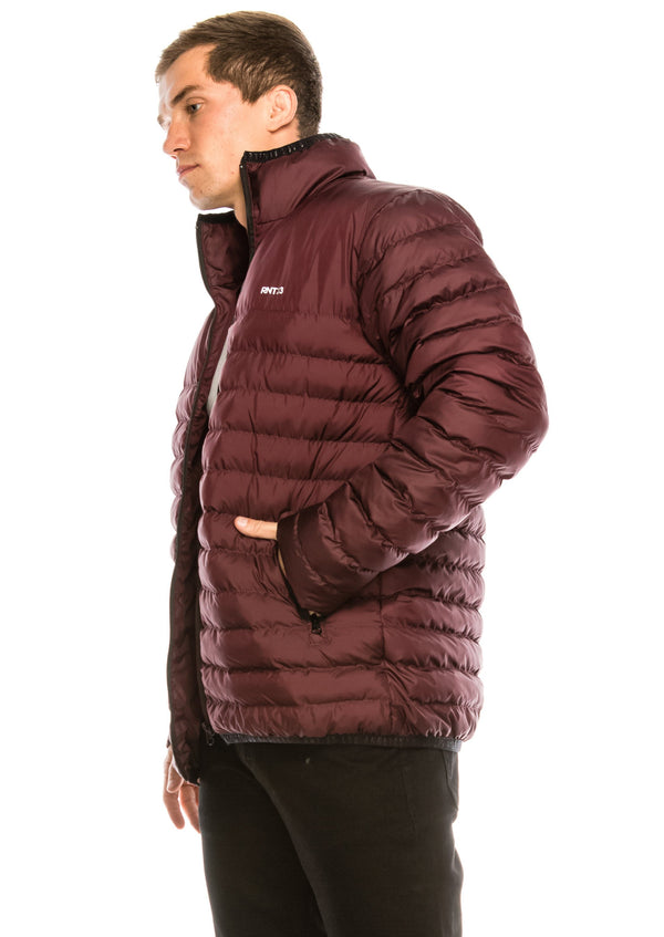 Reflector Logo Quilted Jacket - BURGUNDY - Ron Tomson