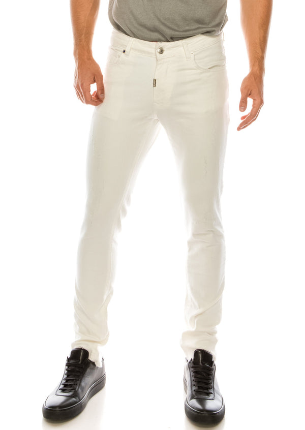 RT Inner Red Skinny Denim - White - Ron Tomson