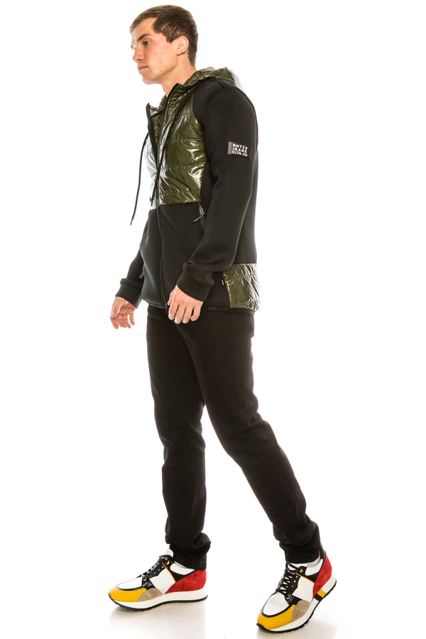 Mix Media Neoprene Quilted Jacket - KHAKI - Ron Tomson