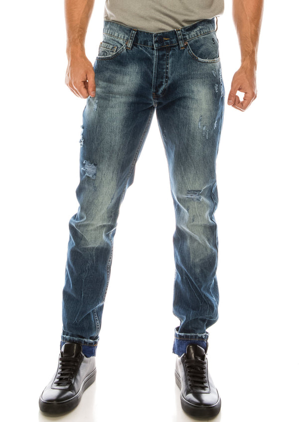 WASHED CONTRAST WARP SLIM - STRAIGHT DENIM - NAVY SAX - Ron Tomson