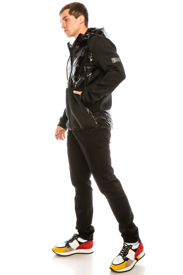 Mix Media Neoprene Quilted Jacket - BLACK - Ron Tomson