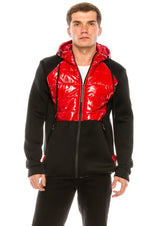 Mix Media Neoprene Quilted Jacket - RED - Ron Tomson