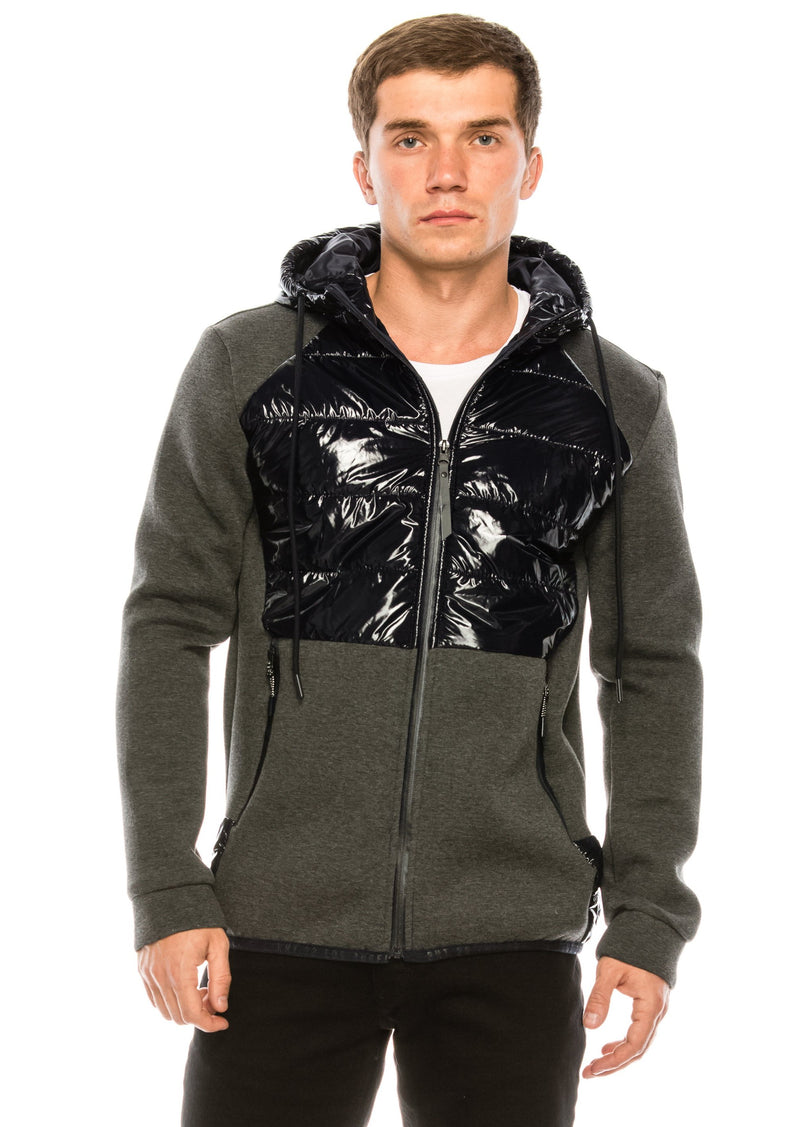Mix Media Neoprene Quilted Jacket - NAVY - Ron Tomson