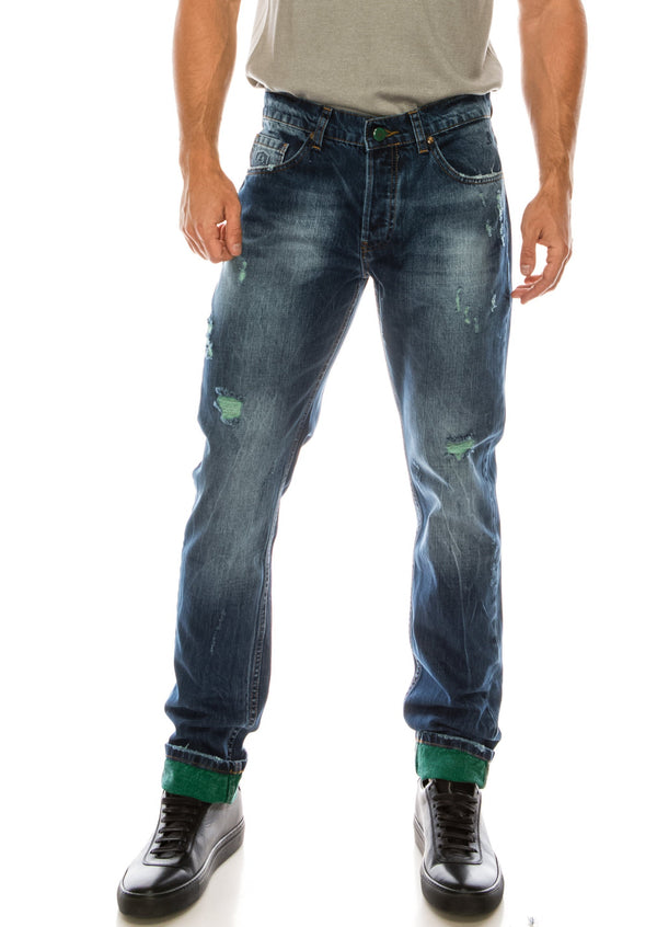 WASHED CONTRAST WARP SLIM - STRAIGHT DENIM - NAVY GREEN - Ron Tomson