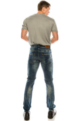 WORN AND DISTRESSED SKINNY FIT BLUE JEANS - Ron Tomson