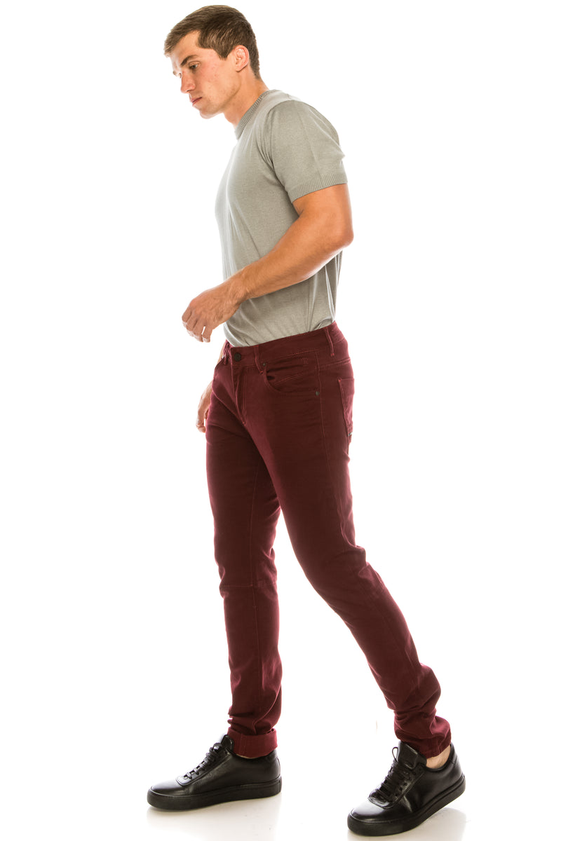 RT Inner Red Skinny Denim - Wine - Ron Tomson