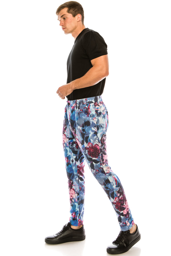Wild Printed Pants - Blue - Ron Tomson