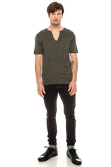 Deep V knitted shirt - ANTHRACITE - Ron Tomson