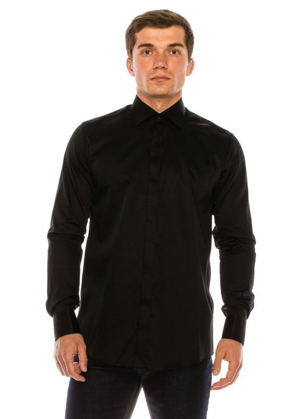Pure Cotton Hidden Placket Shirt - Black - Ron Tomson