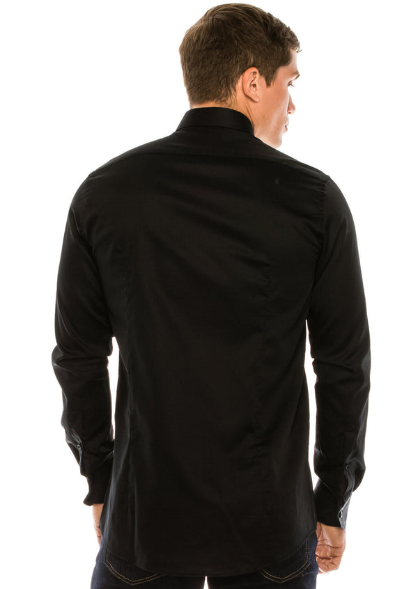 Tie-bar Hidden Placket Shirt - BLACK