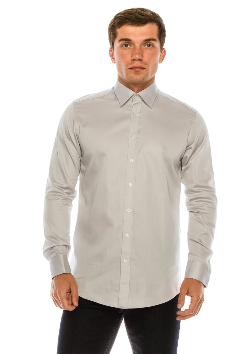 Pure Cotton Sateen Dress Shirt - Grey