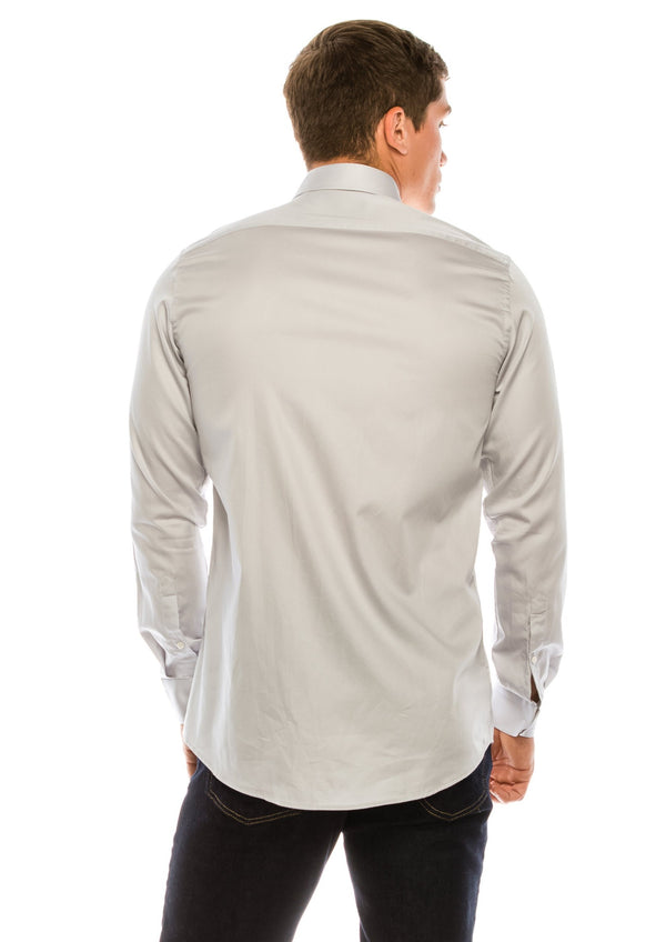 Pure Cotton Sateen Dress Shirt - Grey - Ron Tomson
