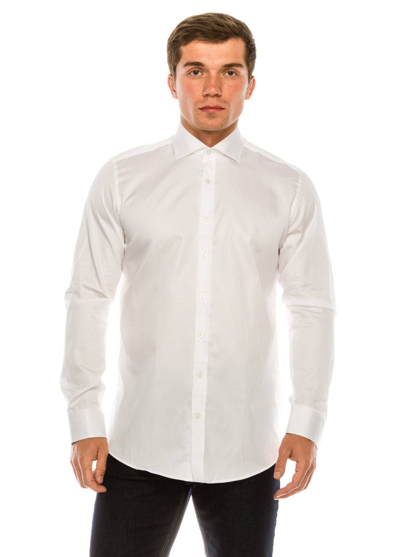 Pure Cotton Spread Collar Fitted Dress Shirt - White - Ron Tomson