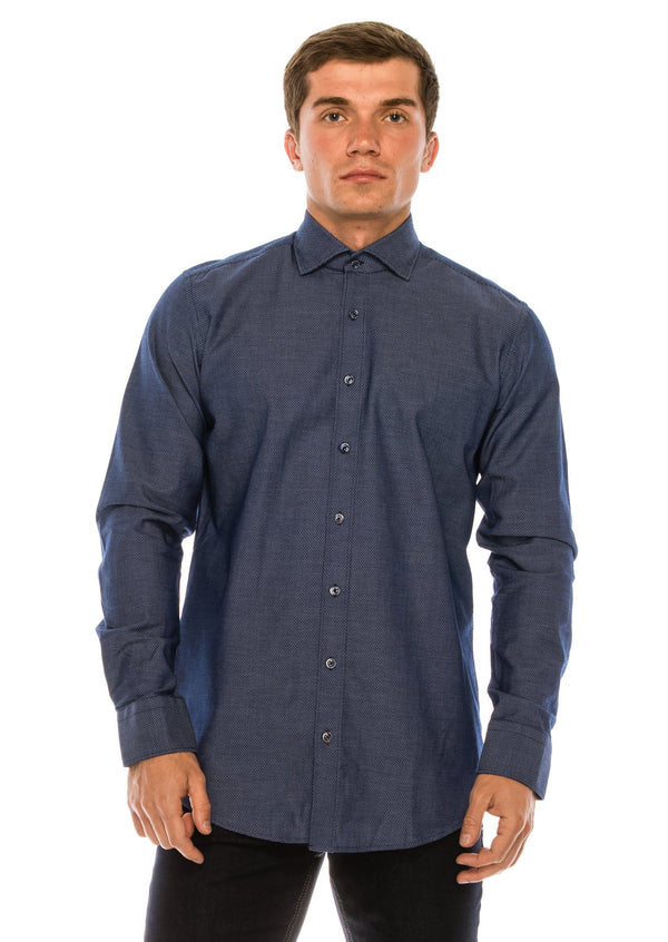 Jacquard Cotton Tonal Button Dress Shirt - Navy - Ron Tomson