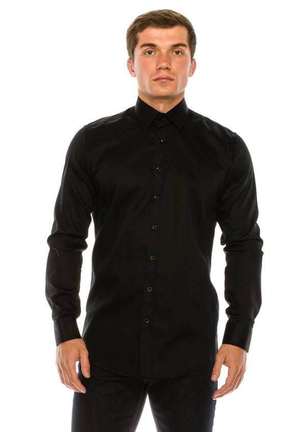 Pure Cotton Sateen Dress Shirt - Black - Ron Tomson